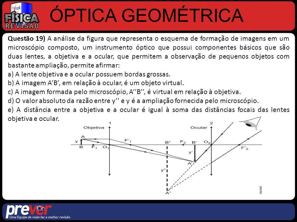 ÓPTICA GEOMÉTRICA Questão 19) A análise da figura que representa o esquema de formação de imagens em um microscópio composto, um instrumento óptico qu