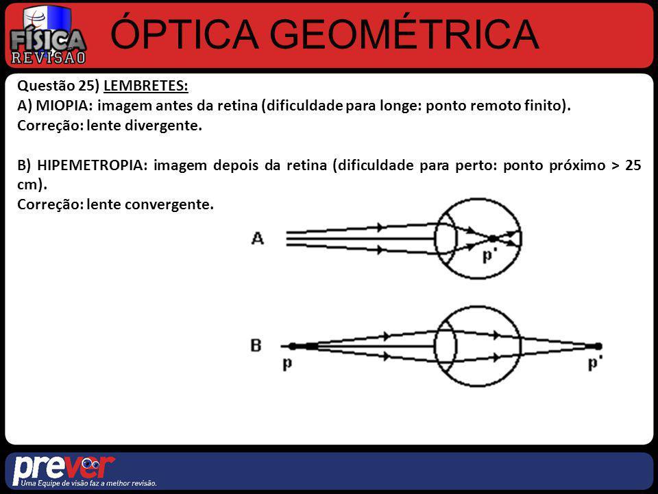 ÓPTICA GEOMÉTRICA Questão 25) LEMBRETES: A) MIOPIA: imagem antes da retina (dificuldade para longe: ponto remoto finito). Correção: lente divergente.