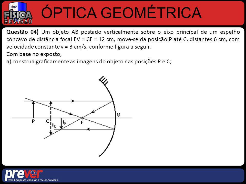 ÓPTICA GEOMÉTRICA Questão 04) Um objeto AB postado verticalmente sobre o eixo principal de um espelho côncavo de distância focal FV = CF = 12 cm, move