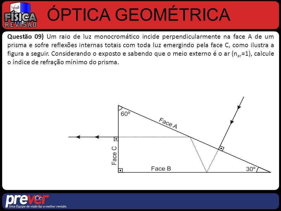 ÓPTICA GEOMÉTRICA Questão 09) Um raio de luz monocromático incide perpendicularmente na face A de um prisma e sofre reflexões internas totais com toda