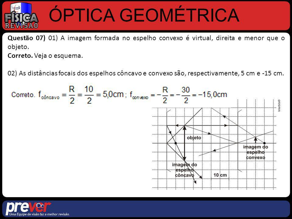 ÓPTICA GEOMÉTRICA Questão 07) 01) A imagem formada no espelho convexo é virtual, direita e menor que o objeto. Correto. Veja o esquema. 02) As distânc