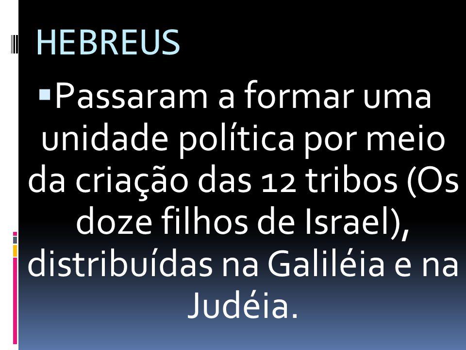 HEBREUS Passaram a formar uma unidade política por meio da criação das 12 tribos (Os doze filhos de Israel), distribuídas na Galiléia e na Judéia.