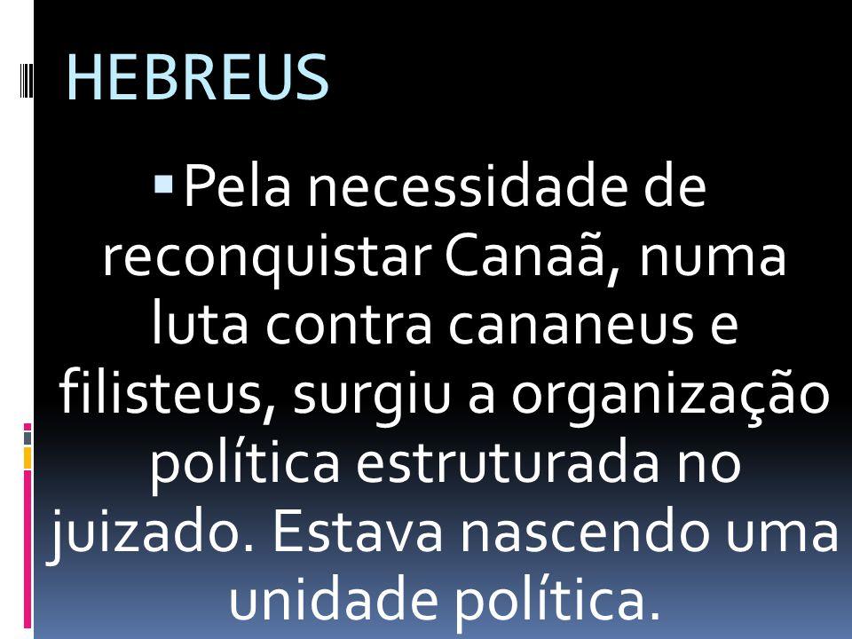 HEBREUS Pela necessidade de reconquistar Canaã, numa luta contra cananeus e filisteus, surgiu a organização política estruturada no juizado. Estava na