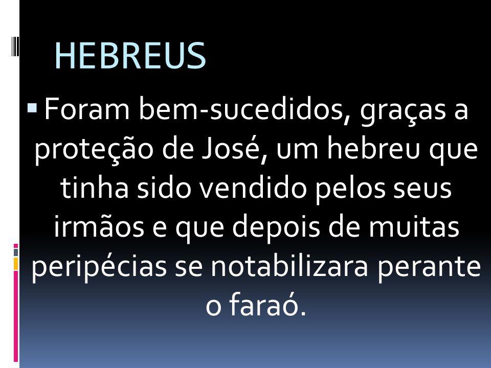 HEBREUS Foram bem-sucedidos, graças a proteção de José, um hebreu que tinha sido vendido pelos seus irmãos e que depois de muitas peripécias se notabi