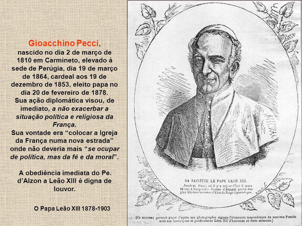 202 Gioacchino Pecci, nascido no dia 2 de março de 1810 em Carmineto, elevado à sede de Perúgia, dia 19 de março de 1864, cardeal aos 19 de dezembro d