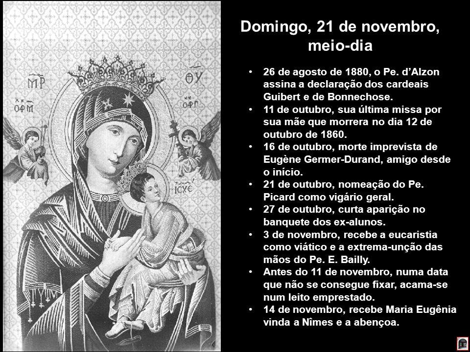 223 Domingo, 21 de novembro, meio-dia 26 de agosto de 1880, o Pe. dAlzon assina a declaração dos cardeais Guibert e de Bonnechose. 11 de outubro, sua