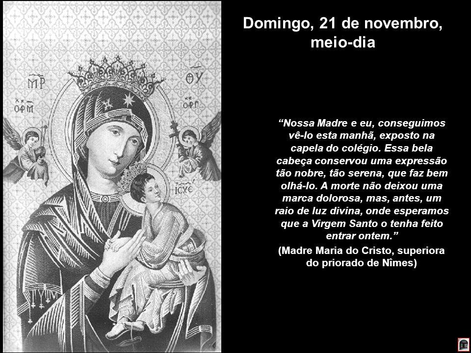 225 Domingo, 21 de novembro, meio-dia Nossa Madre e eu, conseguimos vê-lo esta manhã, exposto na capela do colégio. Essa bela cabeça conservou uma exp