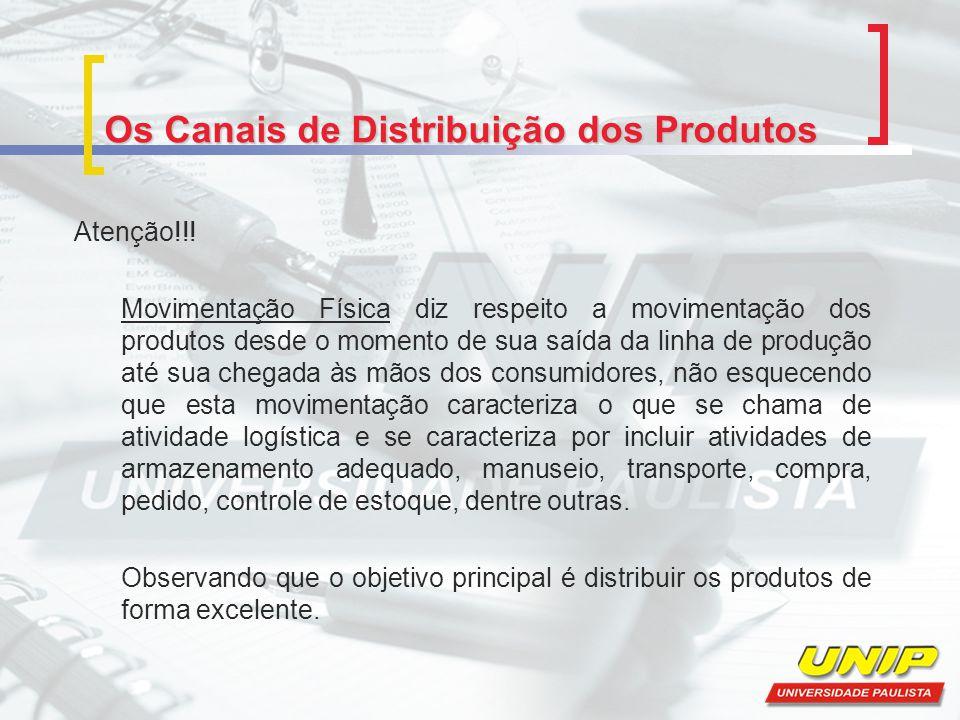 Os Canais de Distribuição dos Produtos Atenção!!! Movimentação Física diz respeito a movimentação dos produtos desde o momento de sua saída da linha d