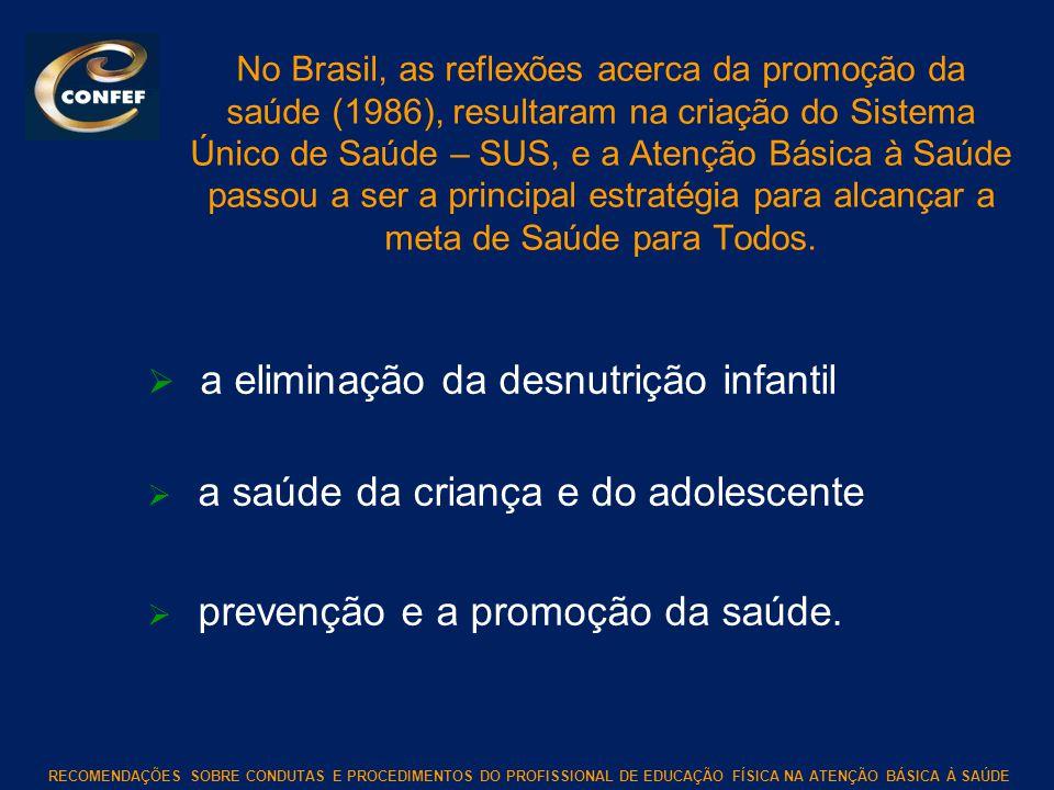 RECOMENDAÇÕES SOBRE CONDUTAS E PROCEDIMENTOS DO PROFISSIONAL DE EDUCAÇÃO FÍSICA NA ATENÇÃO BÁSICA À SAÚDE No Brasil, as reflexões acerca da promoção d