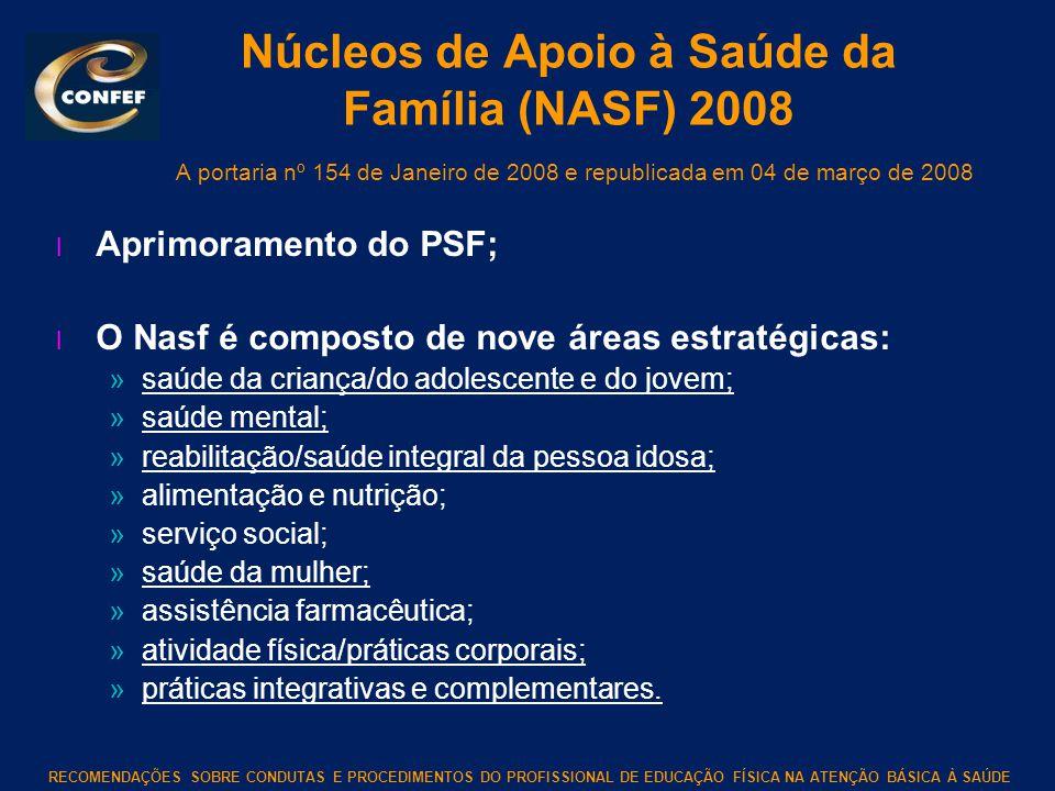 RECOMENDAÇÕES SOBRE CONDUTAS E PROCEDIMENTOS DO PROFISSIONAL DE EDUCAÇÃO FÍSICA NA ATENÇÃO BÁSICA À SAÚDE Núcleos de Apoio à Saúde da Família (NASF) 2