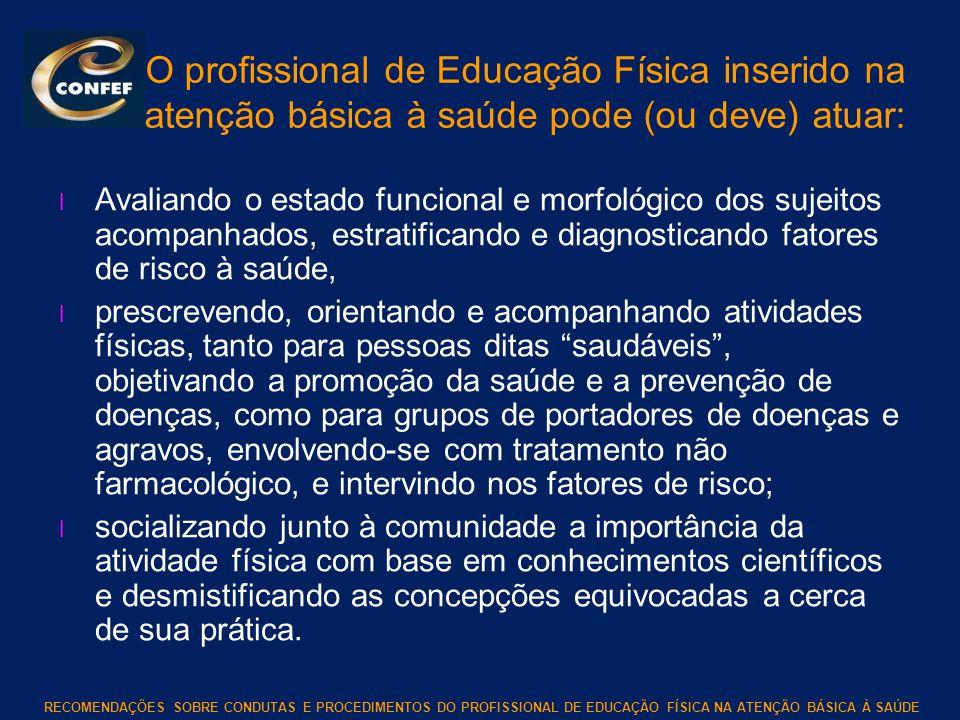 RECOMENDAÇÕES SOBRE CONDUTAS E PROCEDIMENTOS DO PROFISSIONAL DE EDUCAÇÃO FÍSICA NA ATENÇÃO BÁSICA À SAÚDE O profissional de Educação Física inserido n