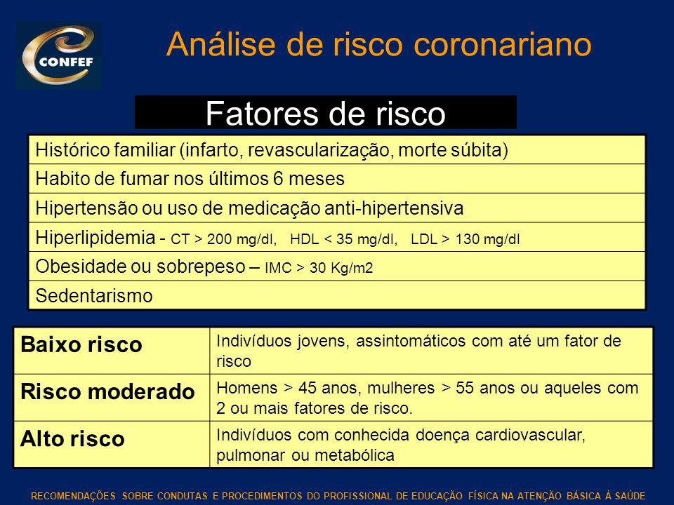 RECOMENDAÇÕES SOBRE CONDUTAS E PROCEDIMENTOS DO PROFISSIONAL DE EDUCAÇÃO FÍSICA NA ATENÇÃO BÁSICA À SAÚDE Análise de risco coronariano Histórico famil