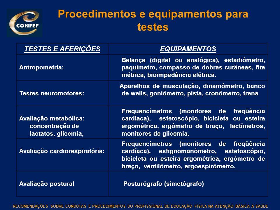 RECOMENDAÇÕES SOBRE CONDUTAS E PROCEDIMENTOS DO PROFISSIONAL DE EDUCAÇÃO FÍSICA NA ATENÇÃO BÁSICA À SAÚDE Procedimentos e equipamentos para testes TES