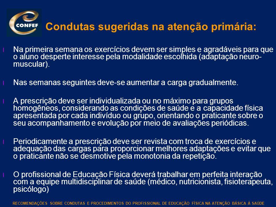 RECOMENDAÇÕES SOBRE CONDUTAS E PROCEDIMENTOS DO PROFISSIONAL DE EDUCAÇÃO FÍSICA NA ATENÇÃO BÁSICA À SAÚDE Condutas sugeridas na atenção primária: l Na