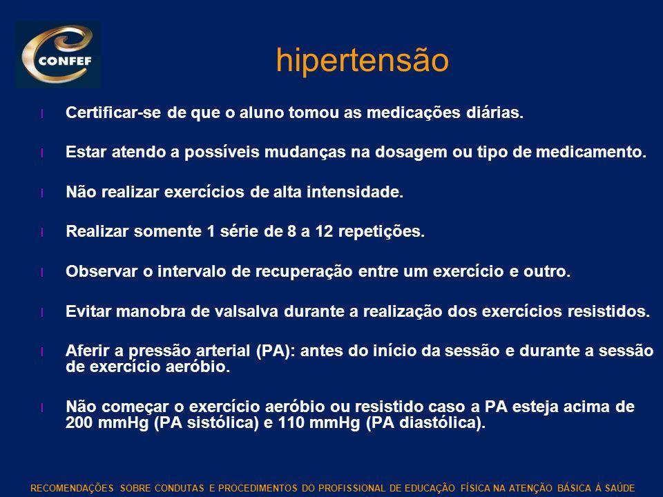 RECOMENDAÇÕES SOBRE CONDUTAS E PROCEDIMENTOS DO PROFISSIONAL DE EDUCAÇÃO FÍSICA NA ATENÇÃO BÁSICA À SAÚDE hipertensão l Certificar-se de que o aluno t