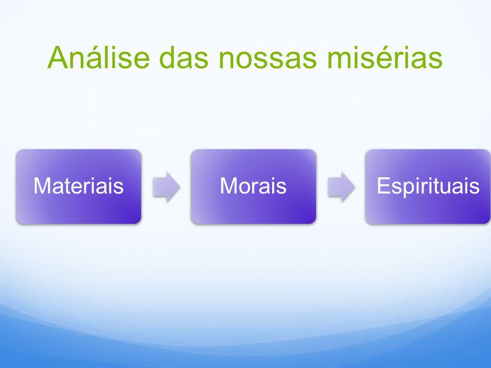 Análise das nossas misérias MateriaisMoraisEspirituais