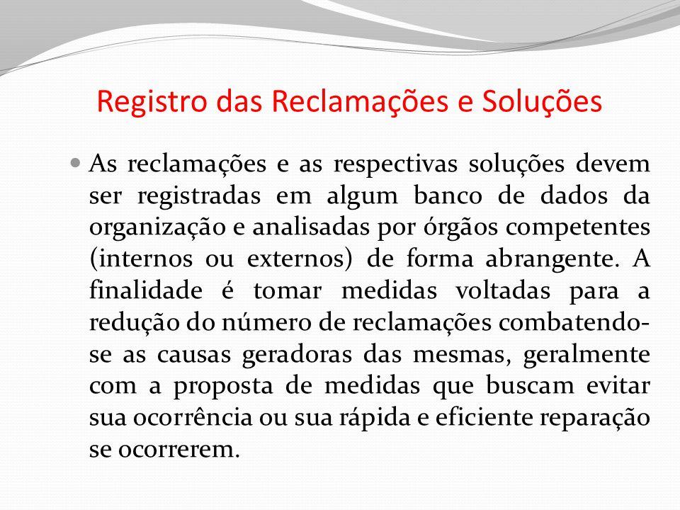 Registro das Reclamações e Soluções As reclamações e as respectivas soluções devem ser registradas em algum banco de dados da organização e analisadas