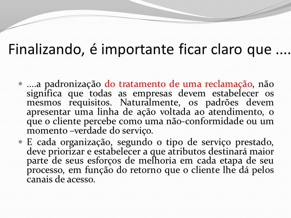 Finalizando, é importante ficar claro que........a padronização do tratamento de uma reclamação, não significa que todas as empresas devem estabelecer