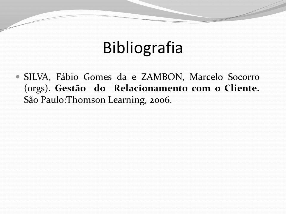 Bibliografia SILVA, Fábio Gomes da e ZAMBON, Marcelo Socorro (orgs). Gestão do Relacionamento com o Cliente. São Paulo:Thomson Learning, 2006.