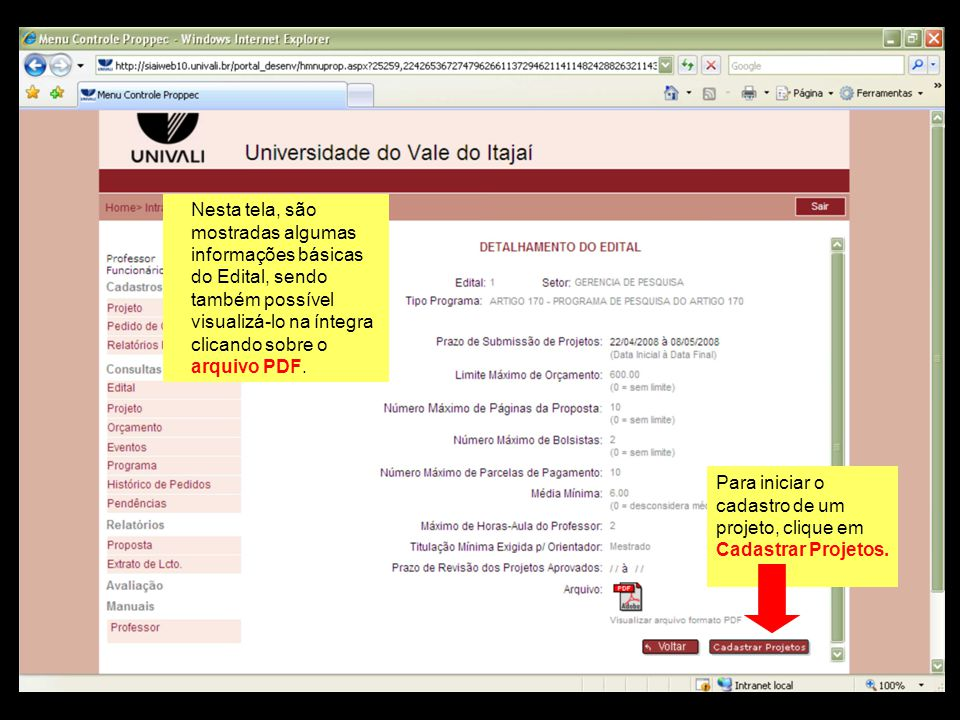 Nesta tela, são mostradas algumas informações básicas do Edital, sendo também possível visualizá-lo na íntegra clicando sobre o arquivo PDF.