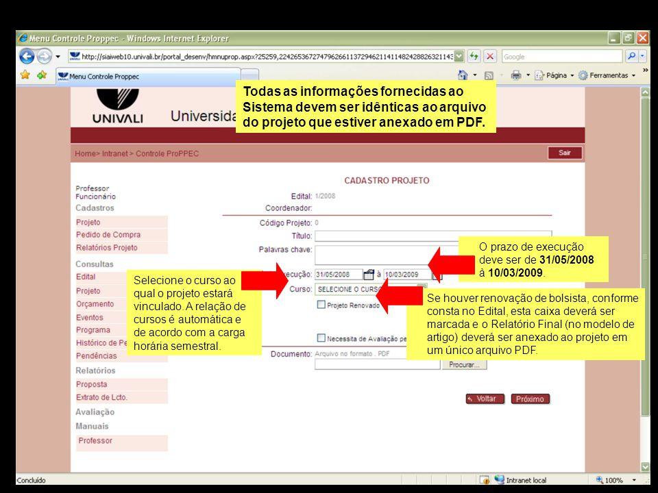 Todas as informações fornecidas ao Sistema devem ser idênticas ao arquivo do projeto que estiver anexado em PDF.