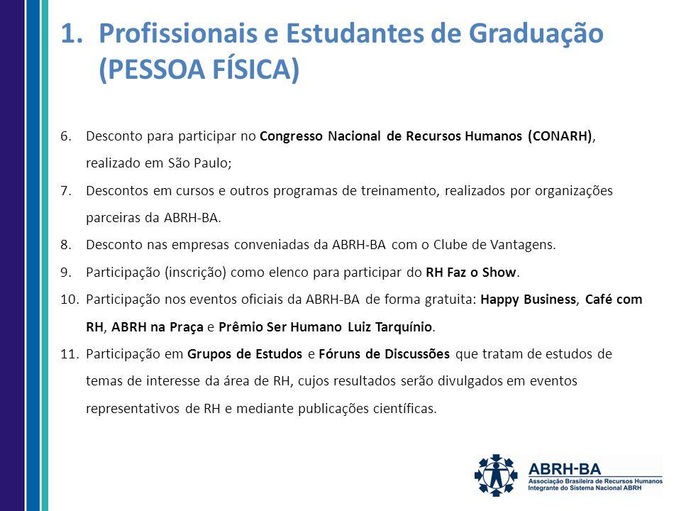 6.Desconto para participar no Congresso Nacional de Recursos Humanos (CONARH), realizado em São Paulo; 7.Descontos em cursos e outros programas de treinamento, realizados por organizações parceiras da ABRH-BA.