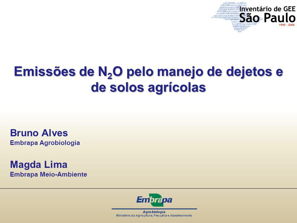 Emissões de N 2 O pelo manejo de dejetos e de solos agrícolas Bruno Alves Embrapa Agrobiologia Magda Lima Embrapa Meio-Ambiente