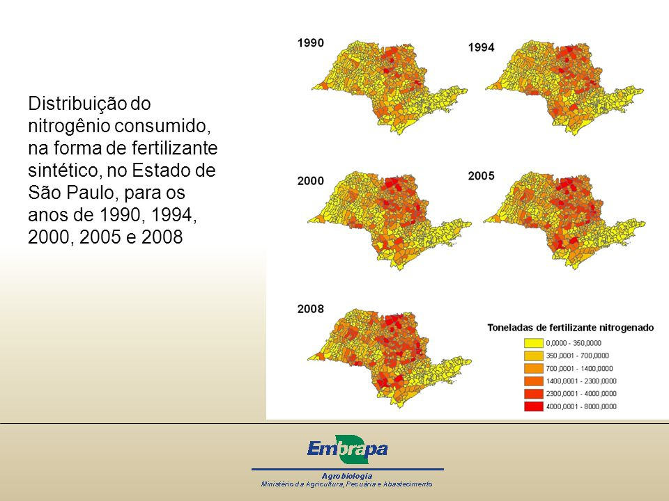 Distribuição do nitrogênio consumido, na forma de fertilizante sintético, no Estado de São Paulo, para os anos de 1990, 1994, 2000, 2005 e 2008