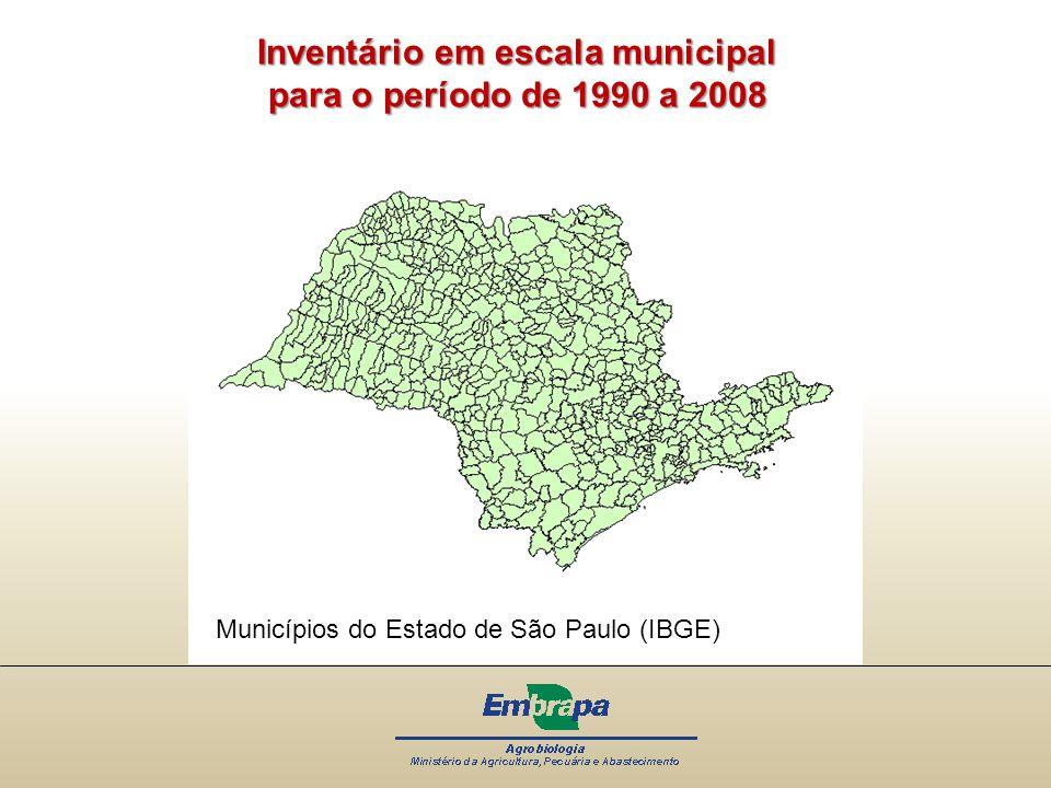 Inventário em escala municipal para o período de 1990 a 2008 Municípios do Estado de São Paulo (IBGE)