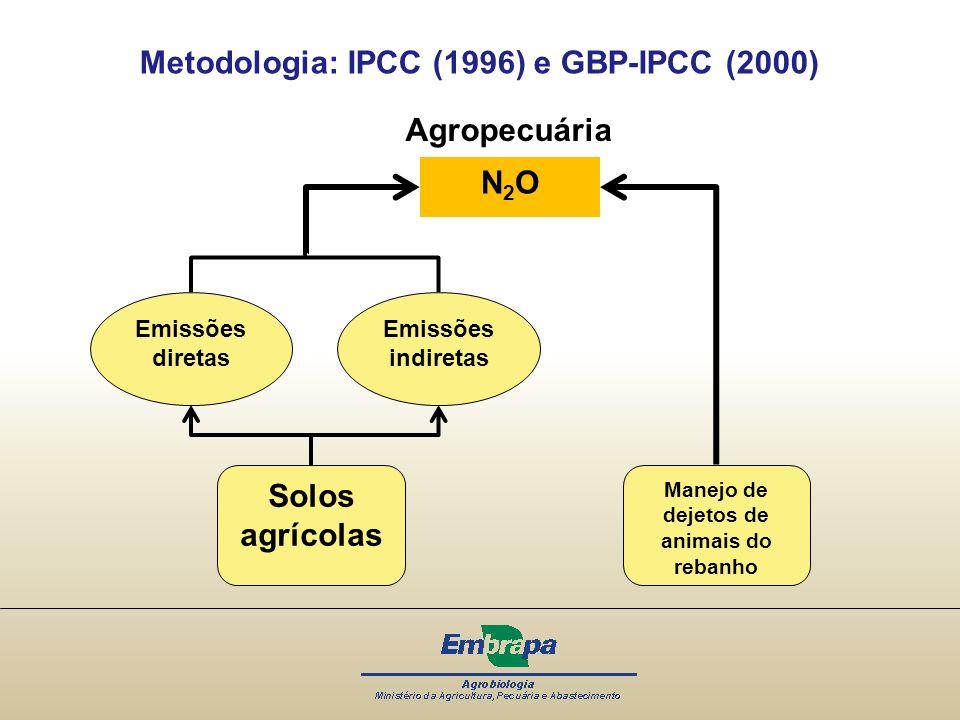 Metodologia: IPCC (1996) e GBP-IPCC (2000) N2ON2O Solos agrícolas Manejo de dejetos de animais do rebanho Emissões diretas Emissões indiretas Agropecu