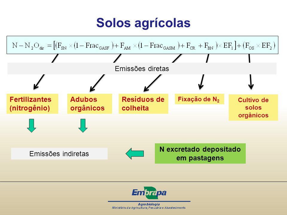 Solos agrícolas Fertilizantes (nitrogênio) Resíduos de colheita Fixação de N 2 Adubos orgânicos Cultivo de solos orgânicos Emissões diretas Emissões i