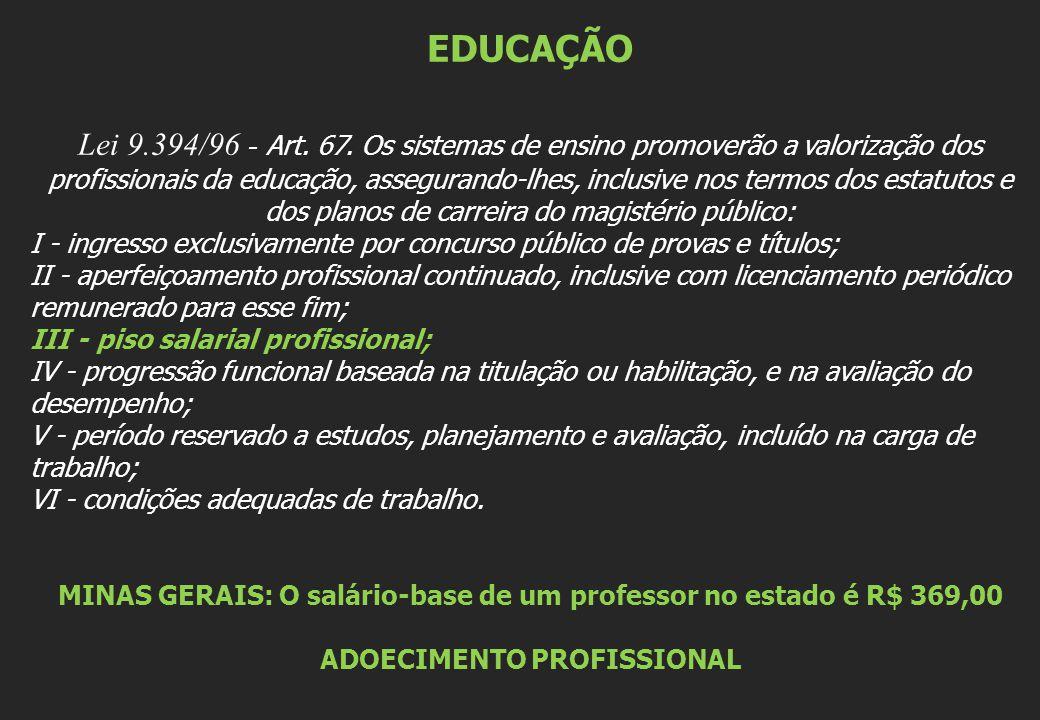 EDUCAÇÃO Lei 9.394/96 - Art. 67. Os sistemas de ensino promoverão a valorização dos profissionais da educação, assegurando-lhes, inclusive nos termos