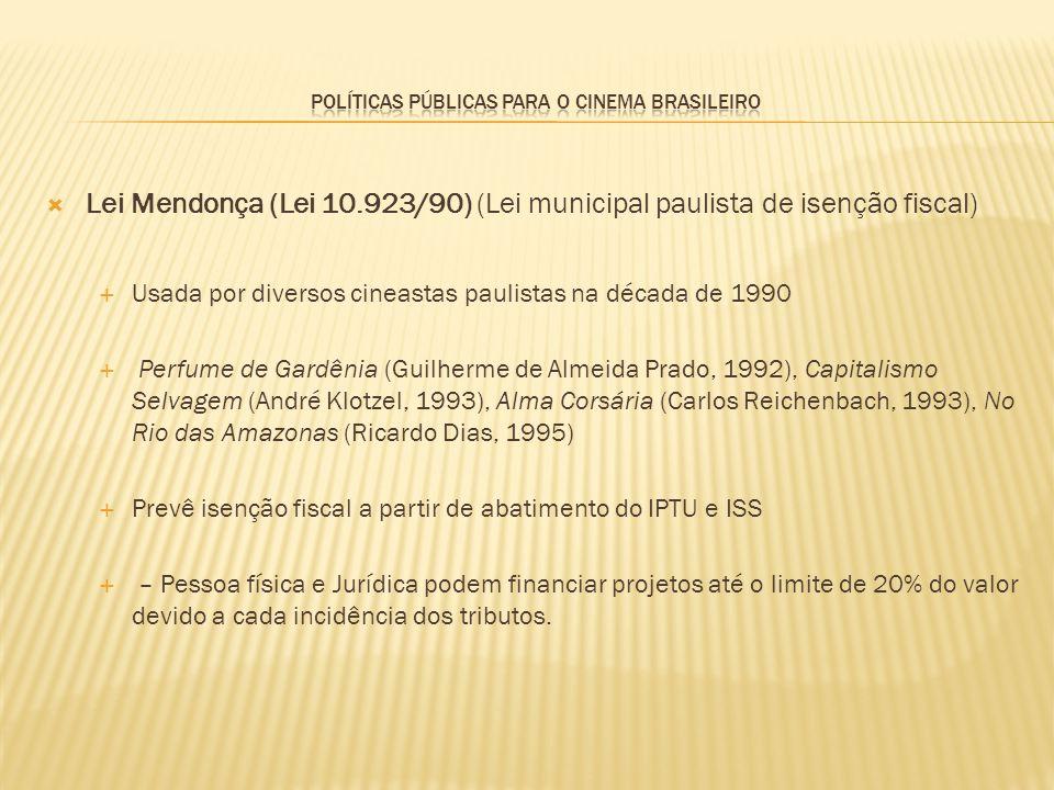 Lei Mendonça (Lei 10.923/90) (Lei municipal paulista de isenção fiscal) Usada por diversos cineastas paulistas na década de 1990 Perfume de Gardênia (