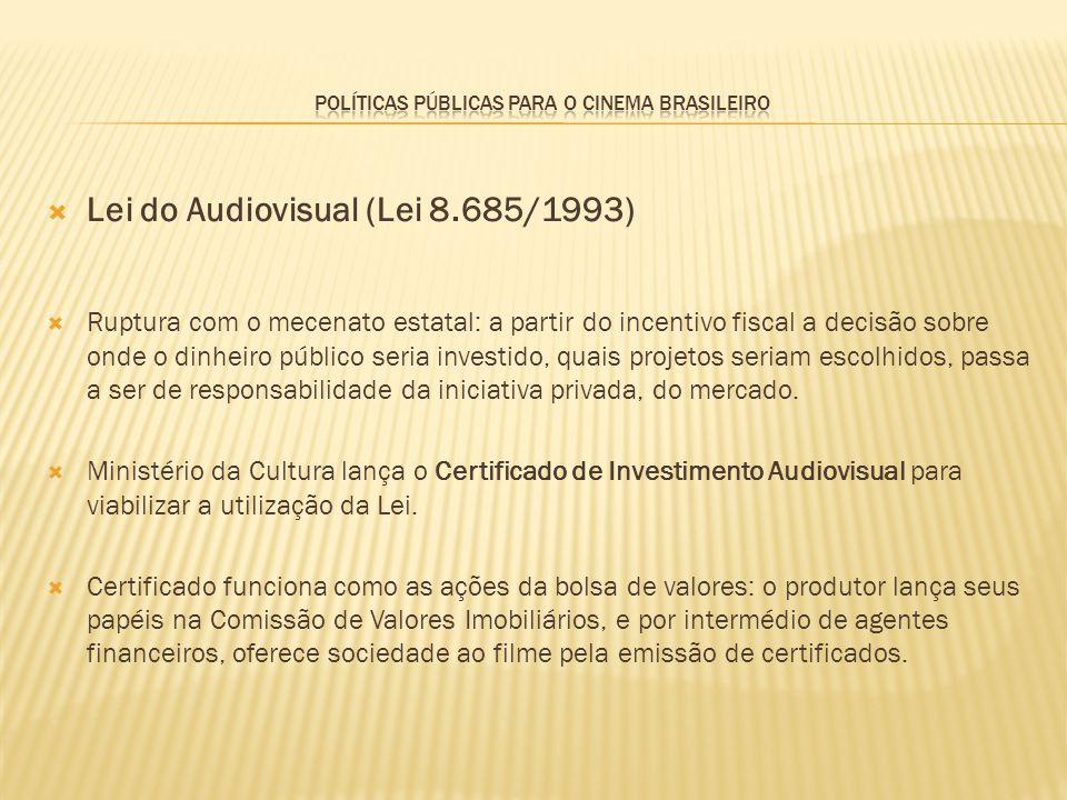 Lei do Audiovisual (Lei 8.685/1993) Ruptura com o mecenato estatal: a partir do incentivo fiscal a decisão sobre onde o dinheiro público seria investi