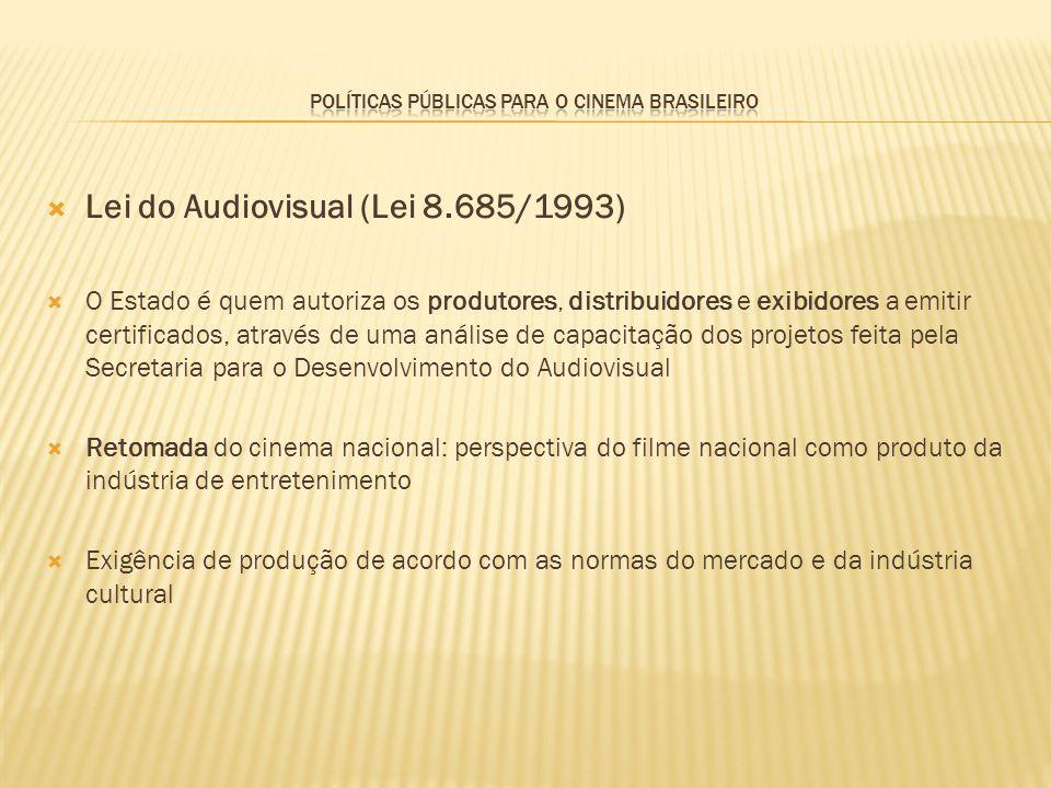 Lei do Audiovisual (Lei 8.685/1993) O Estado é quem autoriza os produtores, distribuidores e exibidores a emitir certificados, através de uma análise