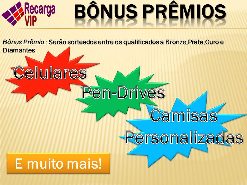 Bônus Prêmio : Serão sorteados entre os qualificados a Bronze,Prata,Ouro e Diamantes E muito mais!