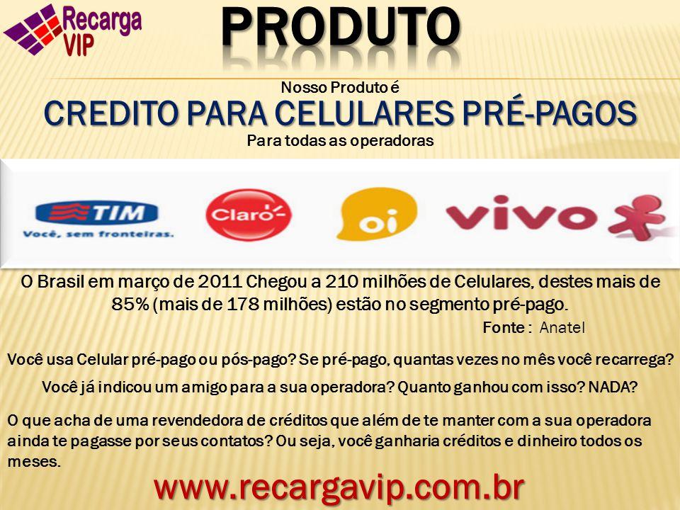 Nosso Produto é CREDITO PARA CELULARES PRÉ-PAGOS Para todas as operadoras O Brasil em março de 2011 Chegou a 210 milhões de Celulares, destes mais de