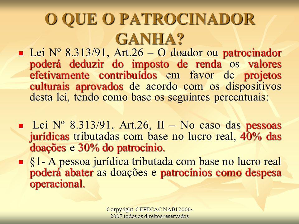 Corpyright CEPECAC NABI 2006- 2007 todos os direitos reservados O QUE O PATROCINADOR GANHA.
