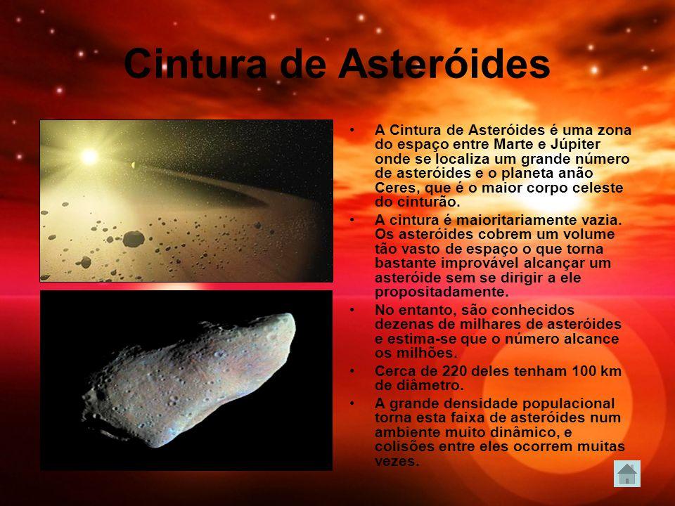 Cintura de Asteróides A Cintura de Asteróides é uma zona do espaço entre Marte e Júpiter onde se localiza um grande número de asteróides e o planeta anão Ceres, que é o maior corpo celeste do cinturão.