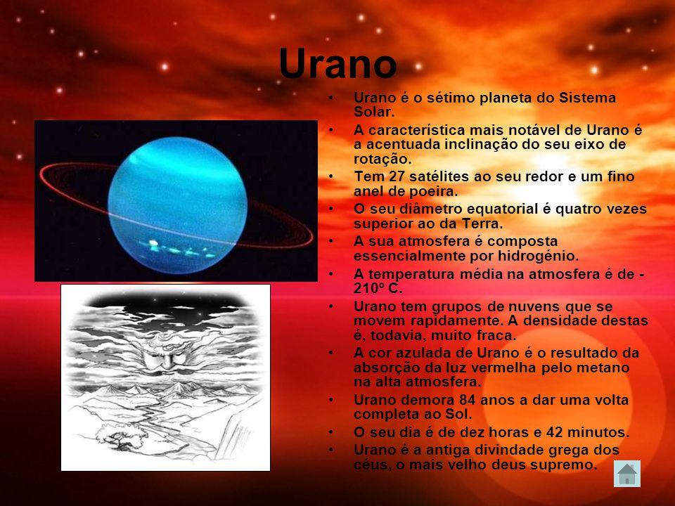 Urano Urano é o sétimo planeta do Sistema Solar. A característica mais notável de Urano é a acentuada inclinação do seu eixo de rotação. Tem 27 satéli