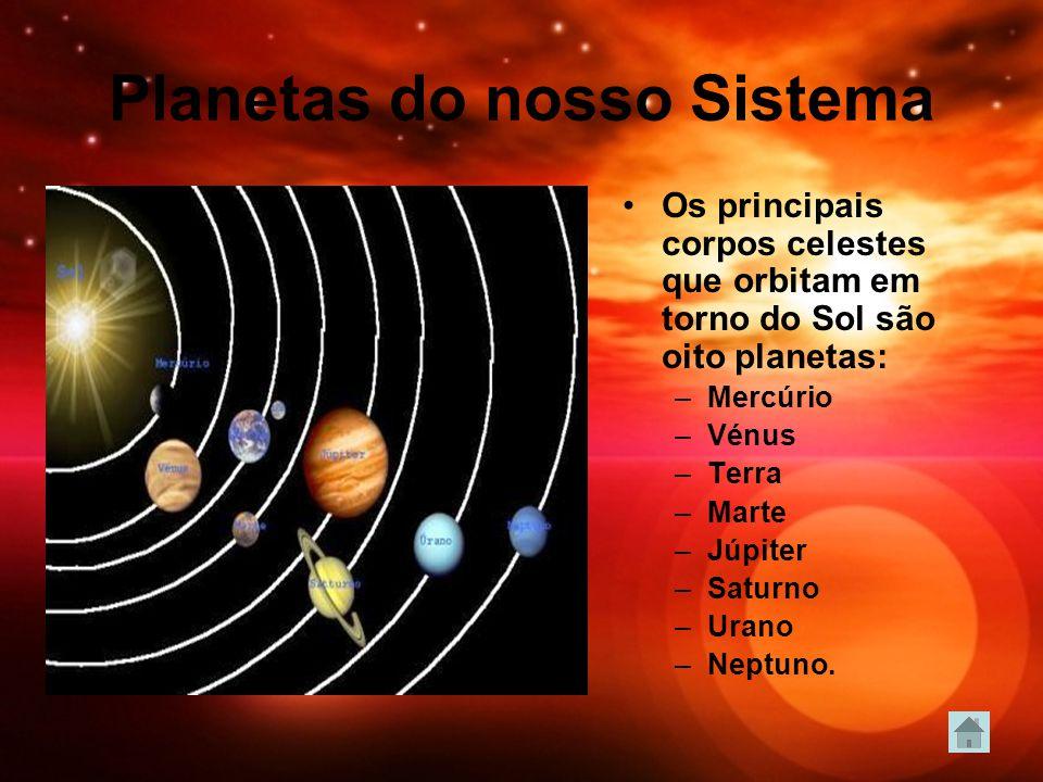 Planetas do nosso Sistema Os principais corpos celestes que orbitam em torno do Sol são oito planetas: –Mercúrio –Vénus –Terra –Marte –Júpiter –Saturn