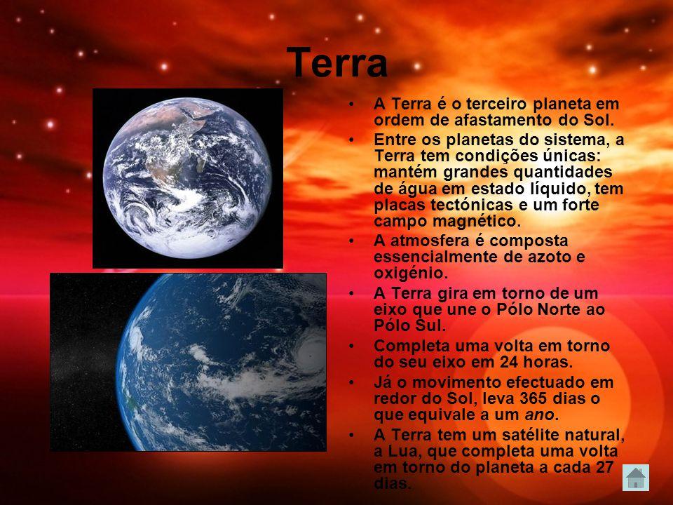 Terra A Terra é o terceiro planeta em ordem de afastamento do Sol. Entre os planetas do sistema, a Terra tem condições únicas: mantém grandes quantida