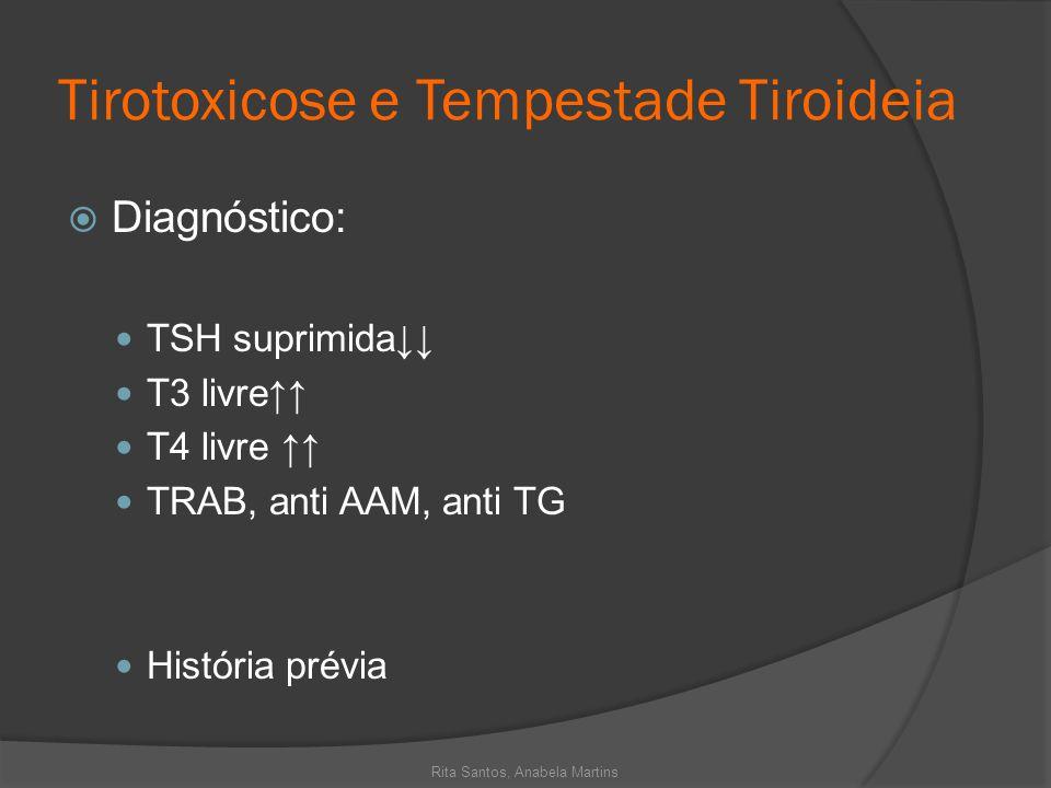 Tirotoxicose e Tempestade Tiroideia Diagnóstico: TSH suprimida T3 livre T4 livre TRAB, anti AAM, anti TG História prévia Rita Santos, Anabela Martins