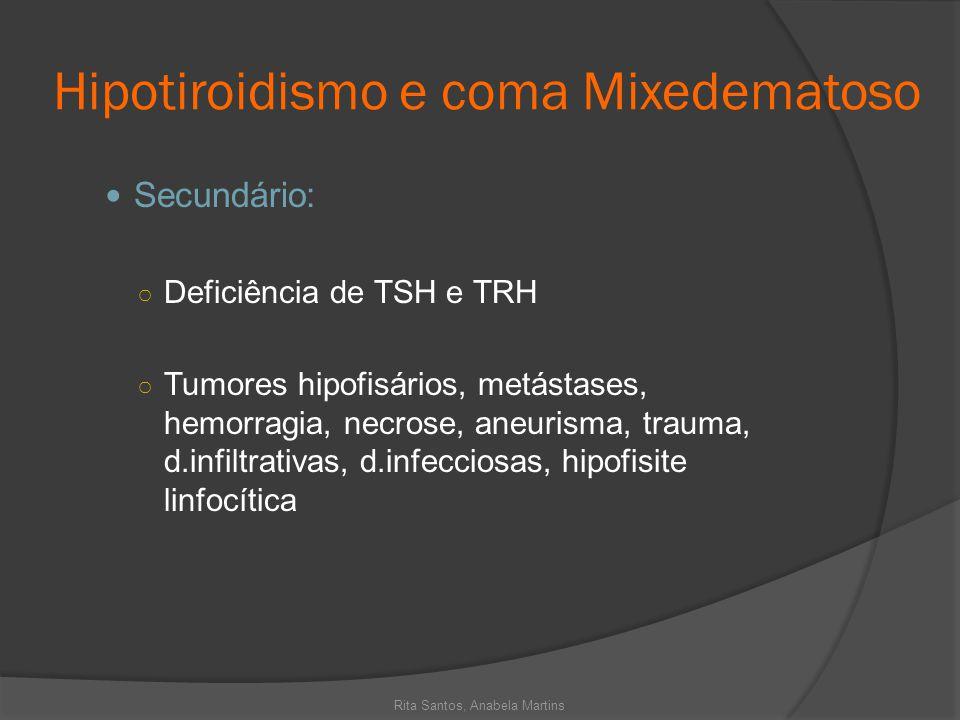 Hipotiroidismo e coma Mixedematoso Secundário: Deficiência de TSH e TRH Tumores hipofisários, metástases, hemorragia, necrose, aneurisma, trauma, d.in