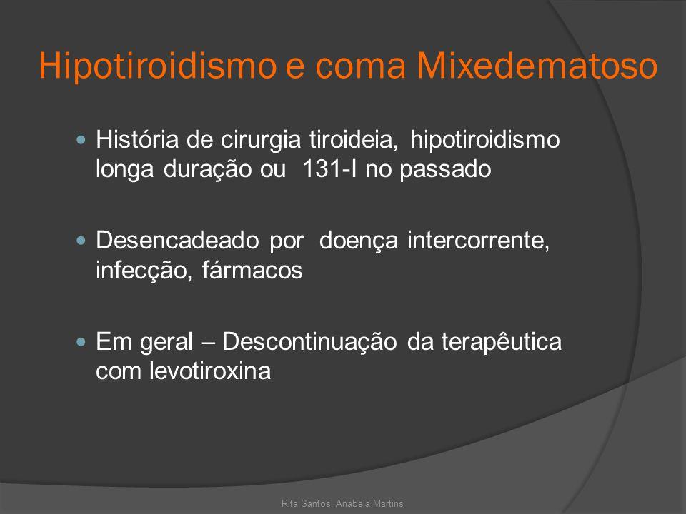Hipotiroidismo e coma Mixedematoso História de cirurgia tiroideia, hipotiroidismo longa duração ou 131-I no passado Desencadeado por doença intercorre