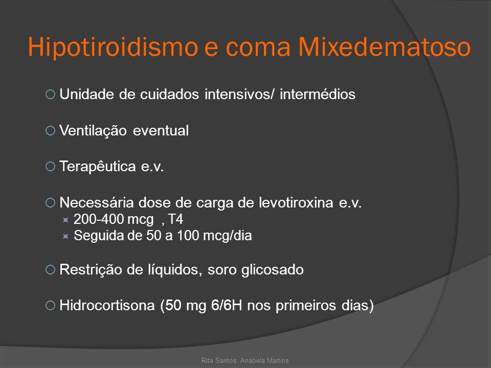 Hipotiroidismo e coma Mixedematoso Unidade de cuidados intensivos/ intermédios Ventilação eventual Terapêutica e.v. Necessária dose de carga de levoti