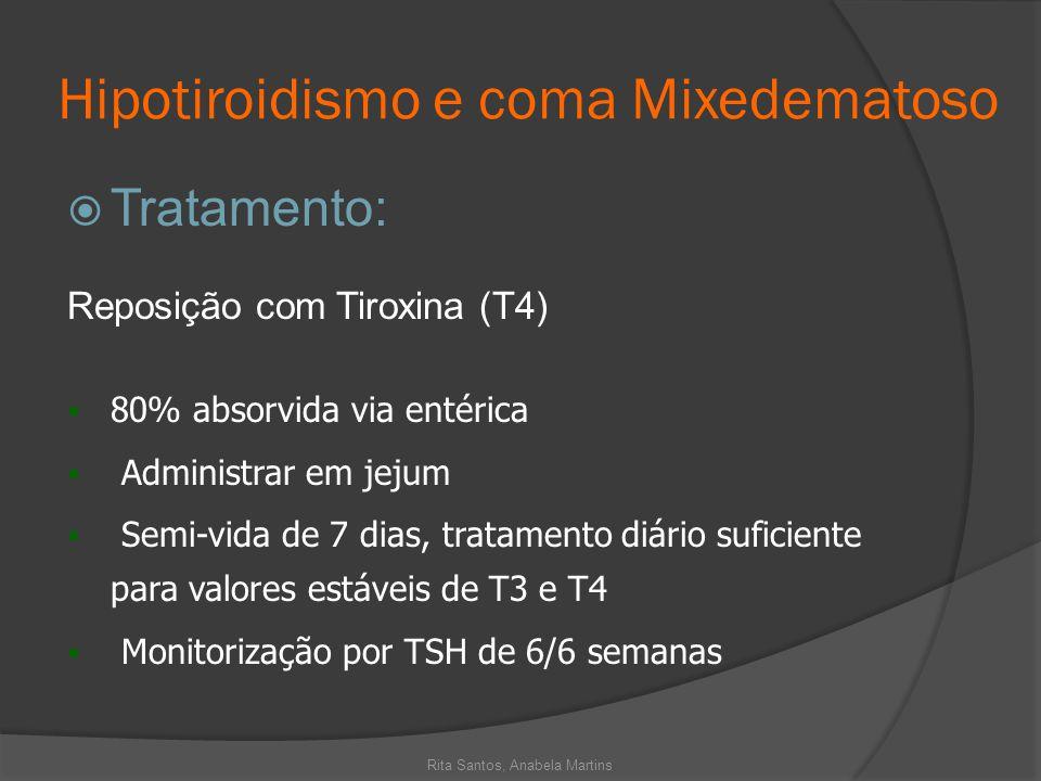 Hipotiroidismo e coma Mixedematoso Tratamento: Reposição com Tiroxina (T4) 80% absorvida via entérica Administrar em jejum Semi-vida de 7 dias, tratam