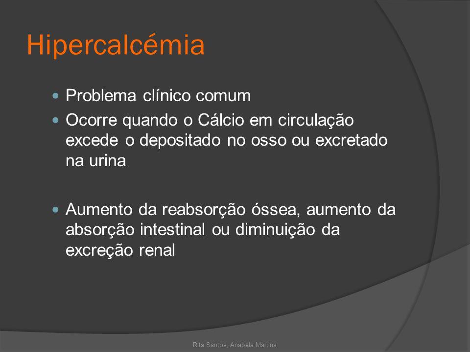 Hipercalcémia Problema clínico comum Ocorre quando o Cálcio em circulação excede o depositado no osso ou excretado na urina Aumento da reabsorção ósse
