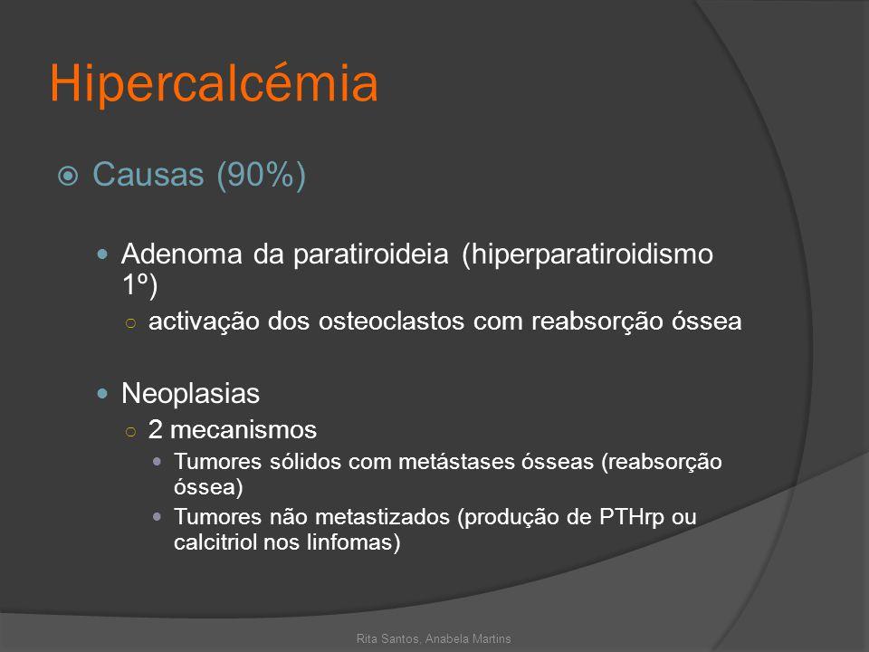 Hipercalcémia Causas (90%) Adenoma da paratiroideia (hiperparatiroidismo 1º) activação dos osteoclastos com reabsorção óssea Neoplasias 2 mecanismos T