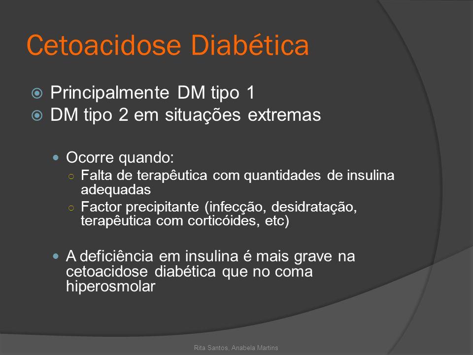 Cetoacidose Diabética Principalmente DM tipo 1 DM tipo 2 em situações extremas Ocorre quando: Falta de terapêutica com quantidades de insulina adequad